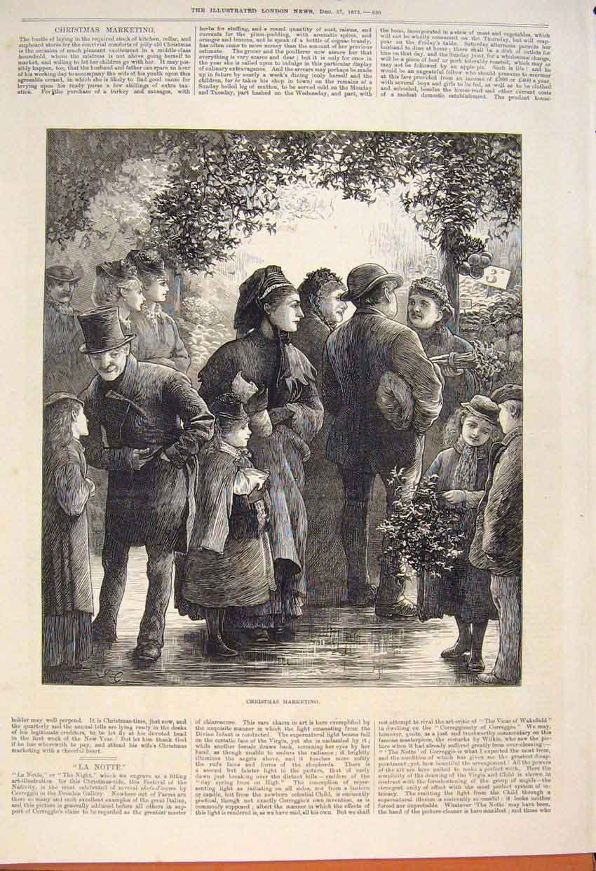 Print Christmas Marketing Market Mistletoe 1873 20Maa1 Old Original
