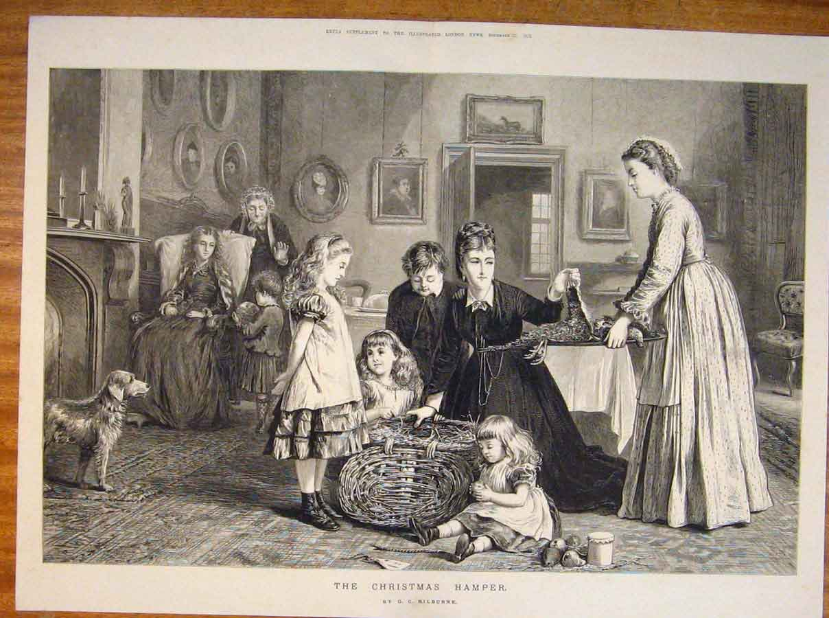 Print Christmas Hamper Kilburne Family Children Fine Art 1873 01Tmaa1 Old Original
