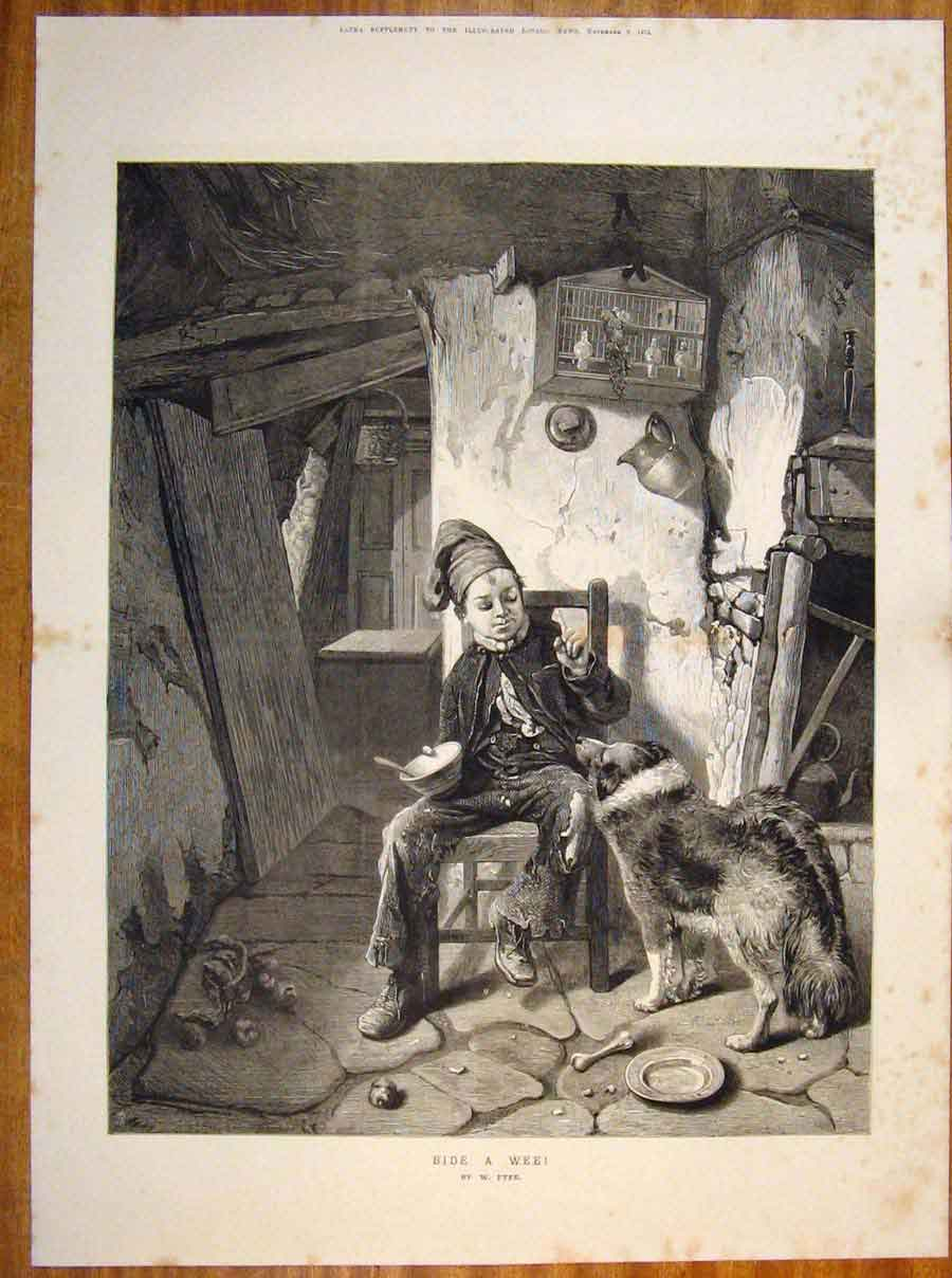Print Bide Wee Fyfe Child Boy Dog Dinner Fine Art 1873 04Tmaa1 Old Original