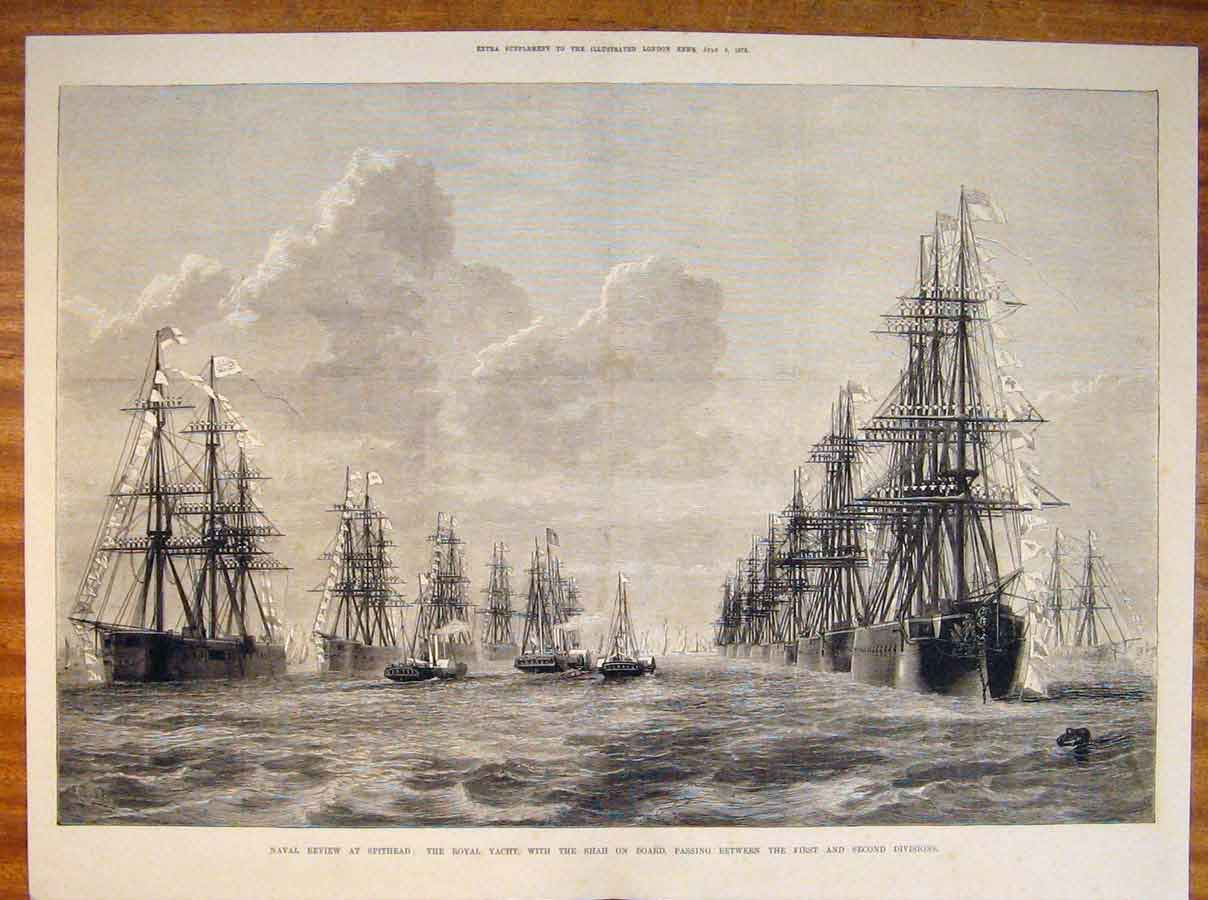 Print Naval Review Spithead Royal Yacht Shah Ships 1873 06Tmaa1 Old Original