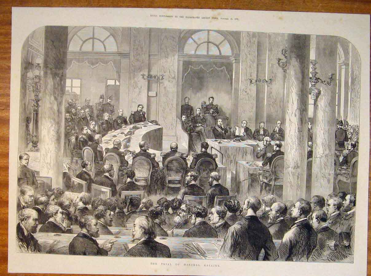 Print Trial Marshall Bazaine Court Sketch 1873 19Tmaa1 Old Original