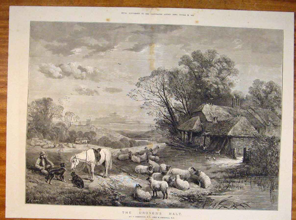 Print Drover'S Halt Shepherd Sheep Cottage Creswick Ansdell 20Tmaa1 Old Original