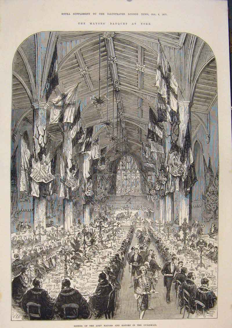 Print Mayor Banquet York Guildhall London 1873 23Amaa1 Old Original
