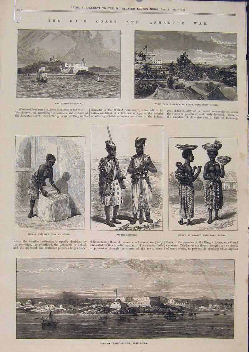 Print Gcoast Ashantee War Hms Argus Decoy 1873 25Amaa1 Old Original