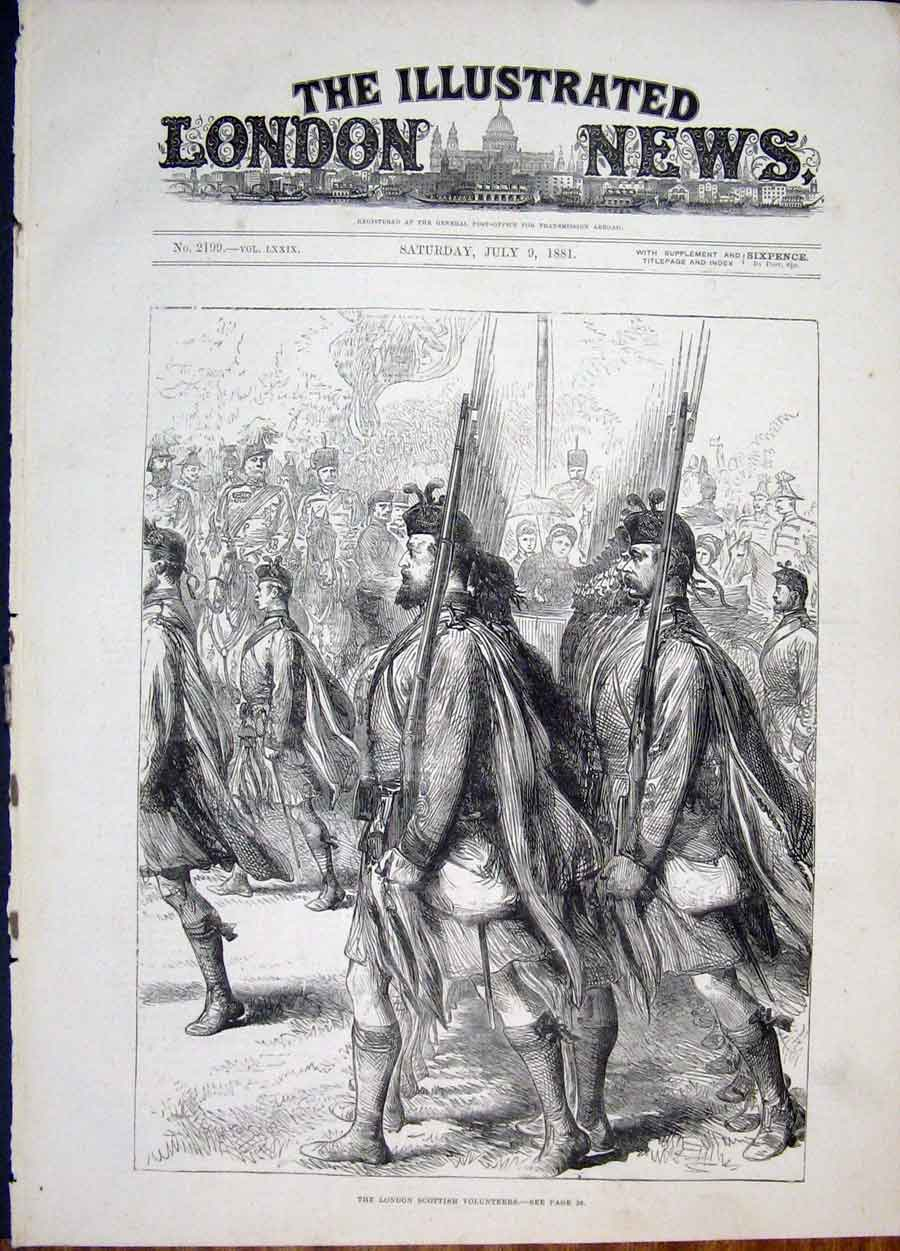 Print Loondon Scottish Volunteers Parade 1881 22Maa1 Old Original