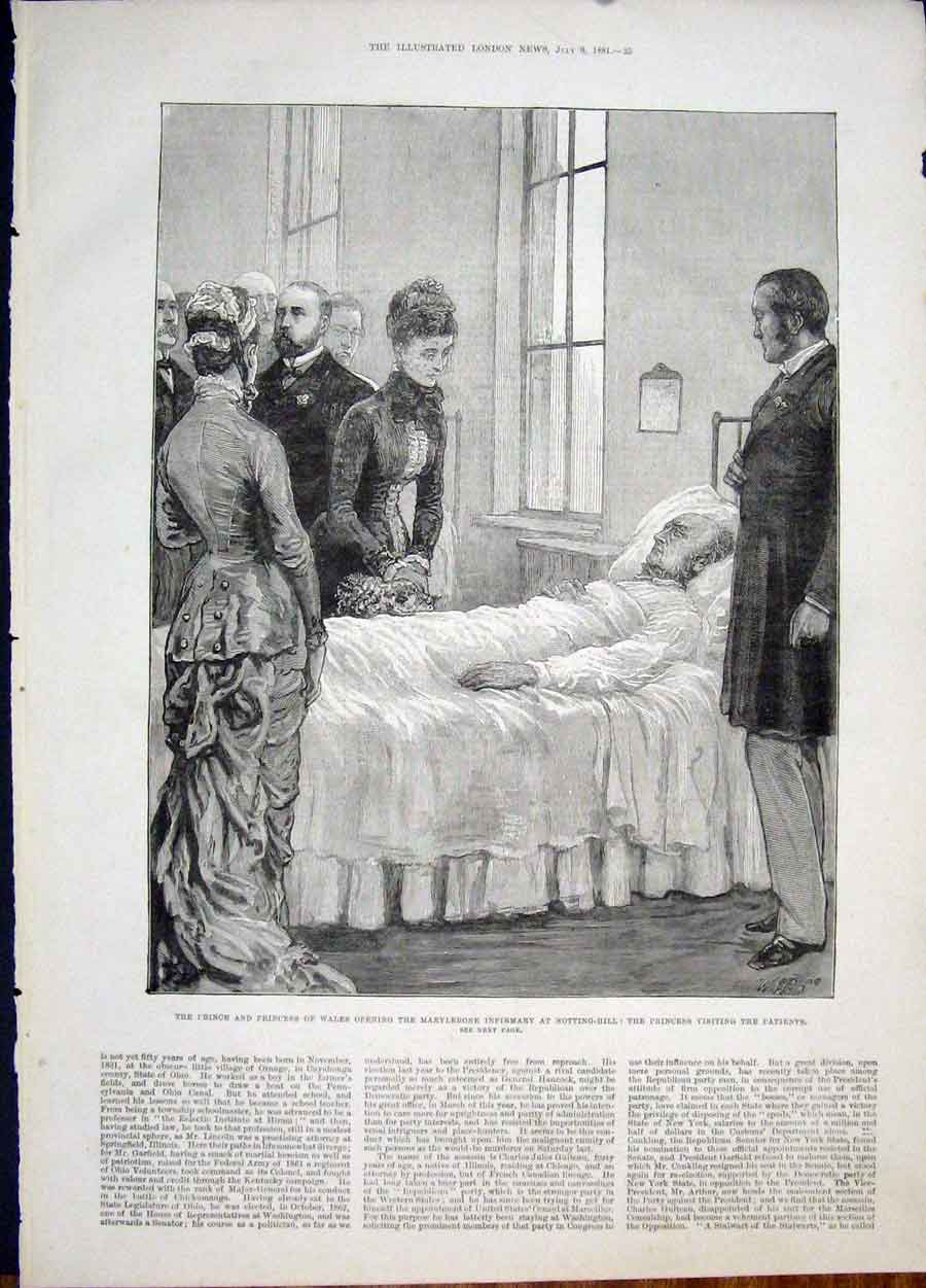 Print Marylebone Infirmary Notting Hill Prince Patients 1881 25Maa1 Old Original