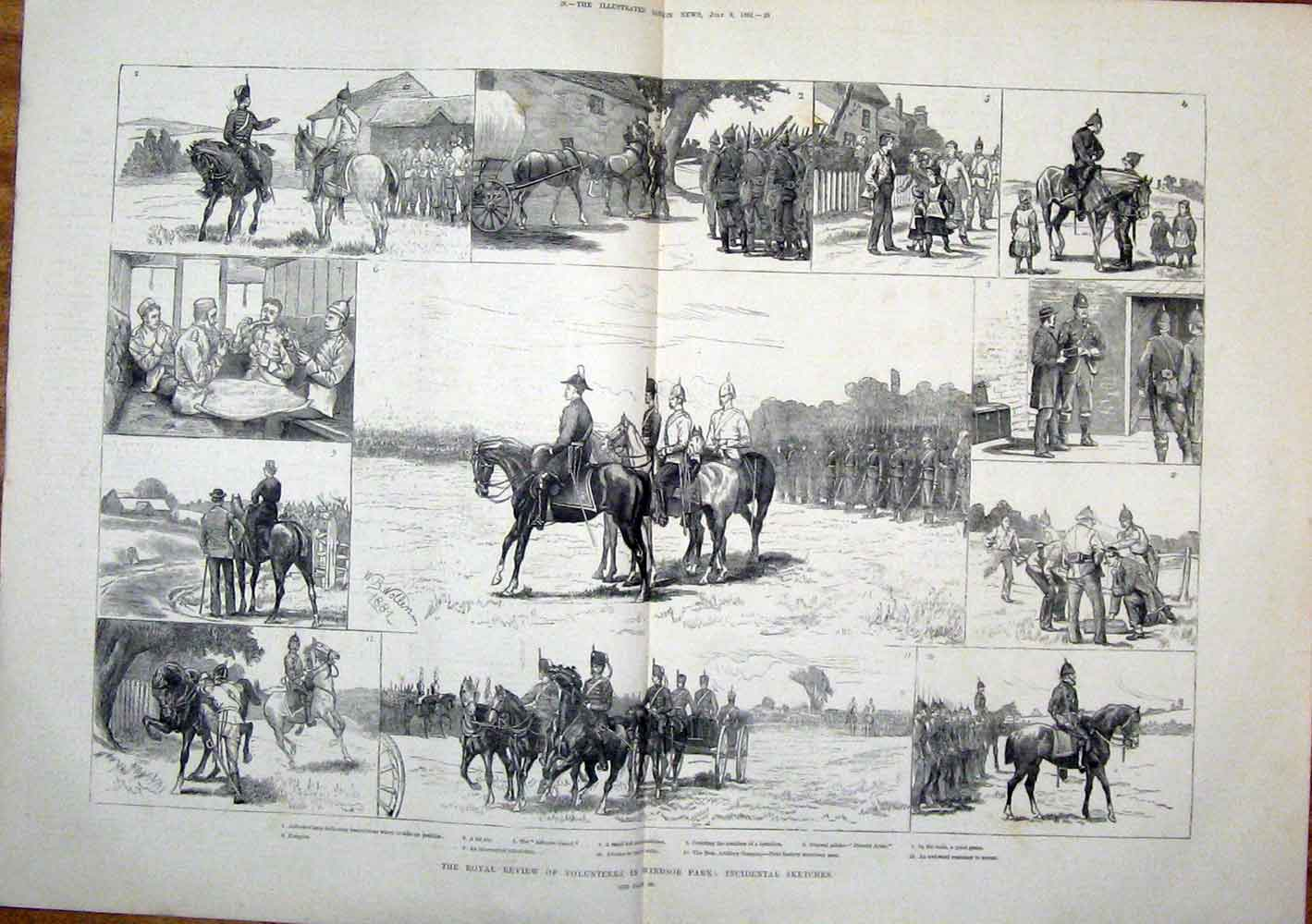 Print Volunteers Windsor Park London Royal Review 1881 27Tmaa1 Old Original