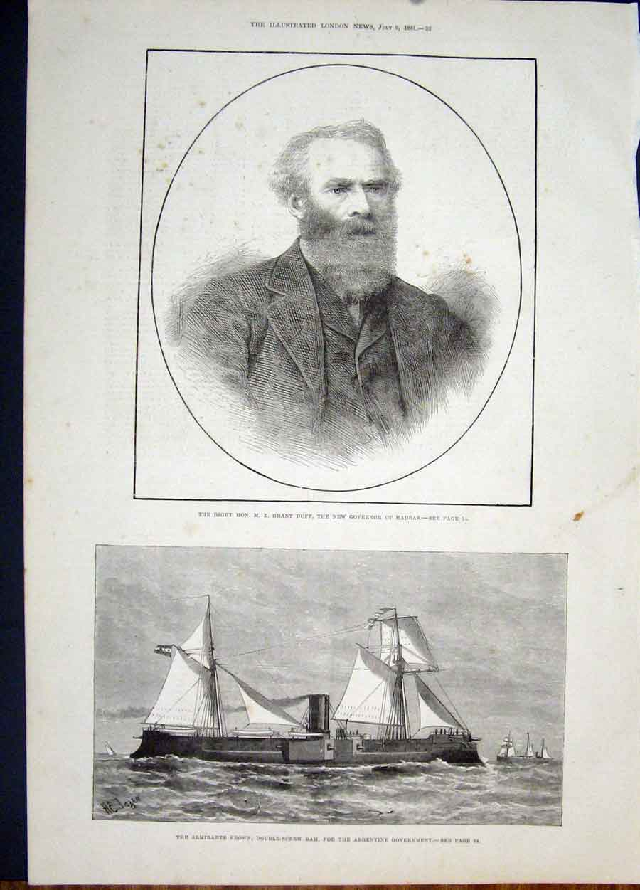 Print Portrait Duff Madras Governor Admiralte Brown Ram Ship 32Maa1 Old Original