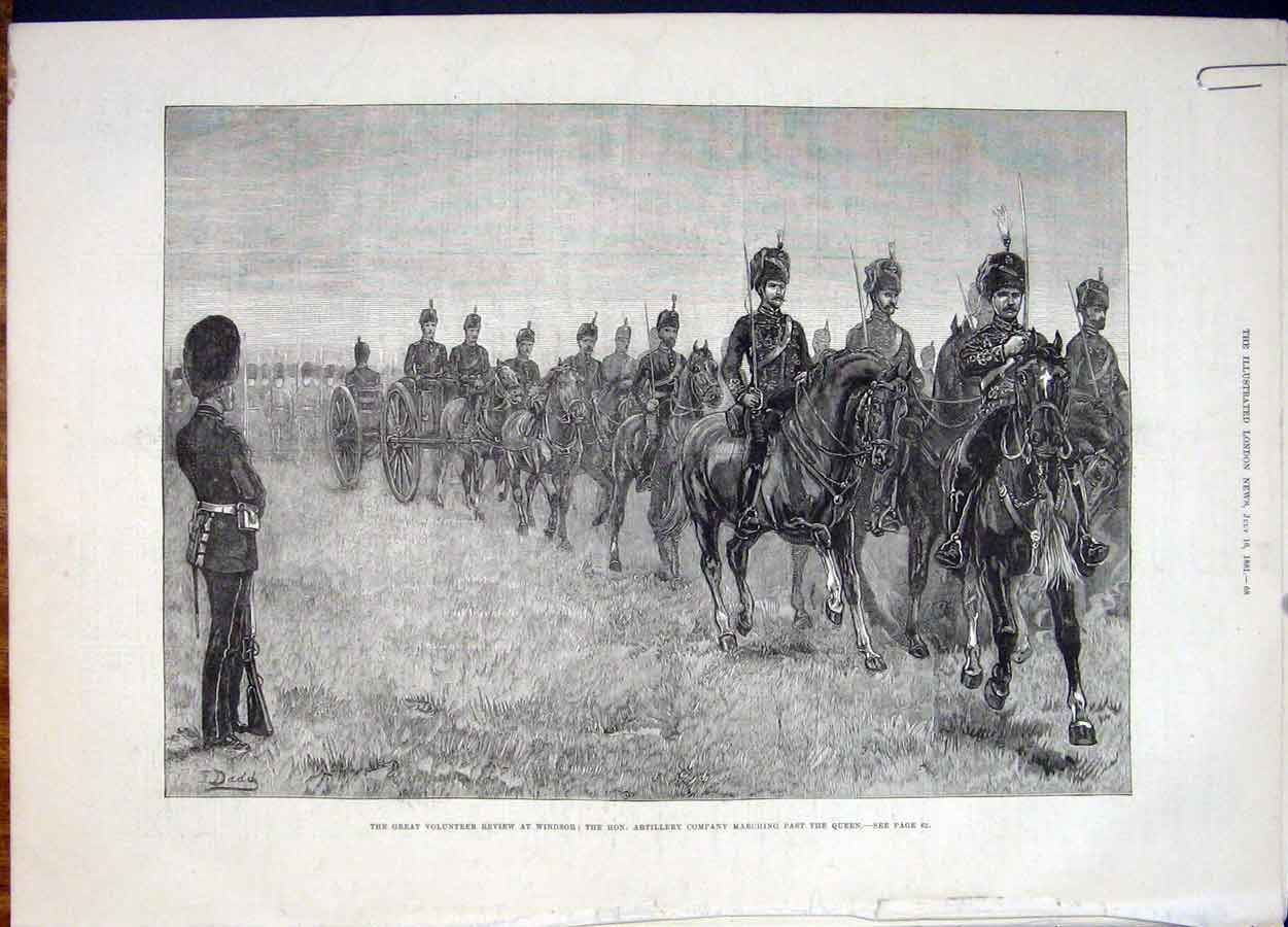 Print Windsor Queen Volunteer Review Artillery 1881 68Amaa1 Old Original