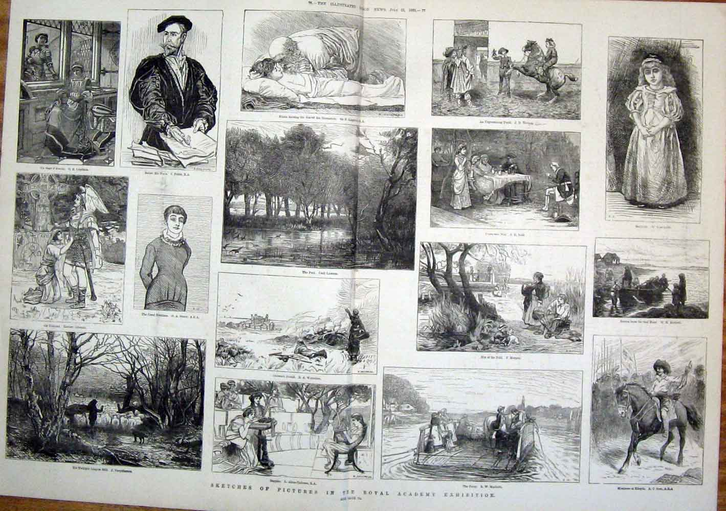 Print Royal Academy Exhibition Sketch Artist Fine Art 1881 75Tmaa1 Old Original