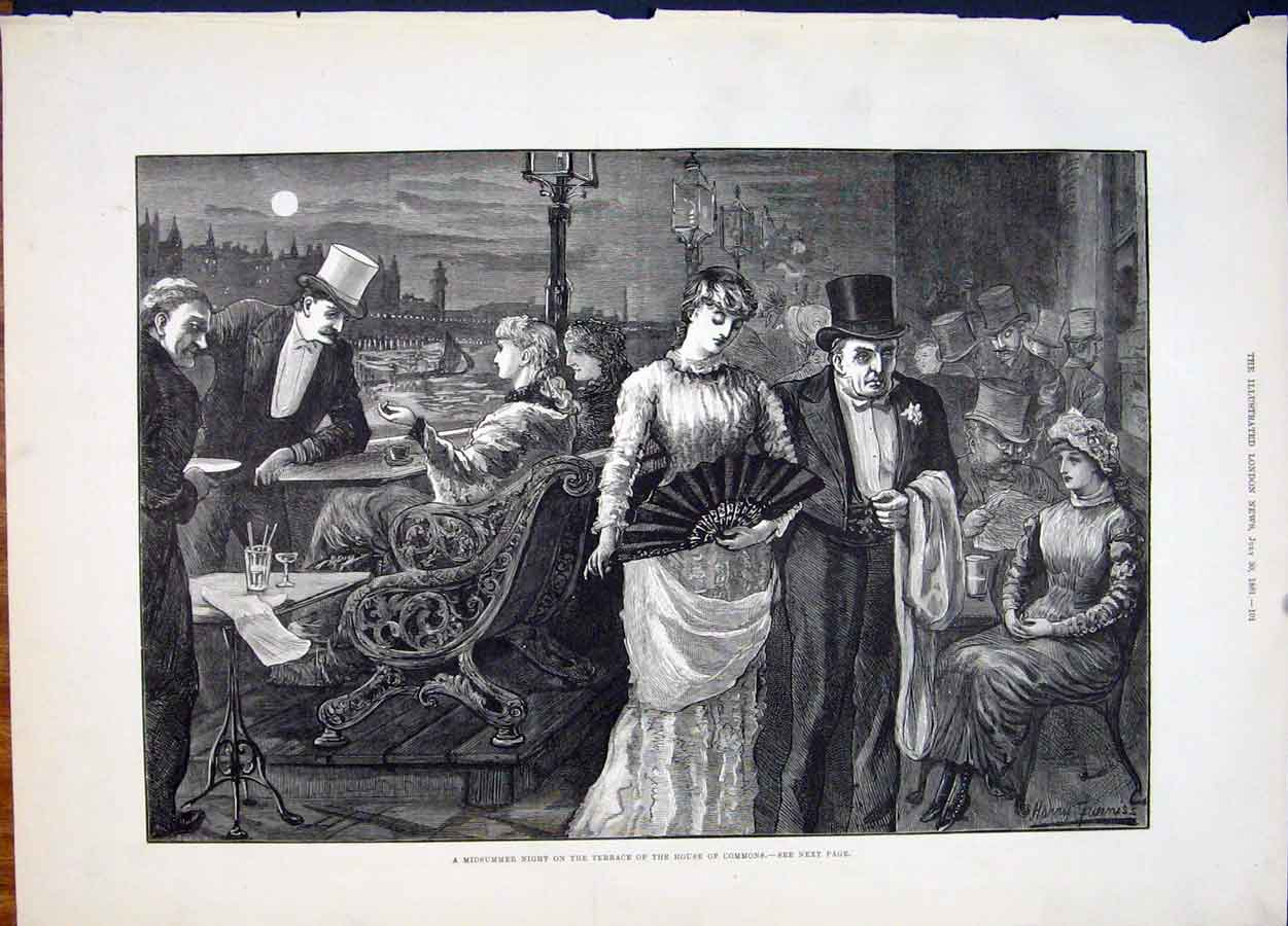 Print House Commons Midsummer Night Terrace Furniss Art 1881 01Maa1 Old Original