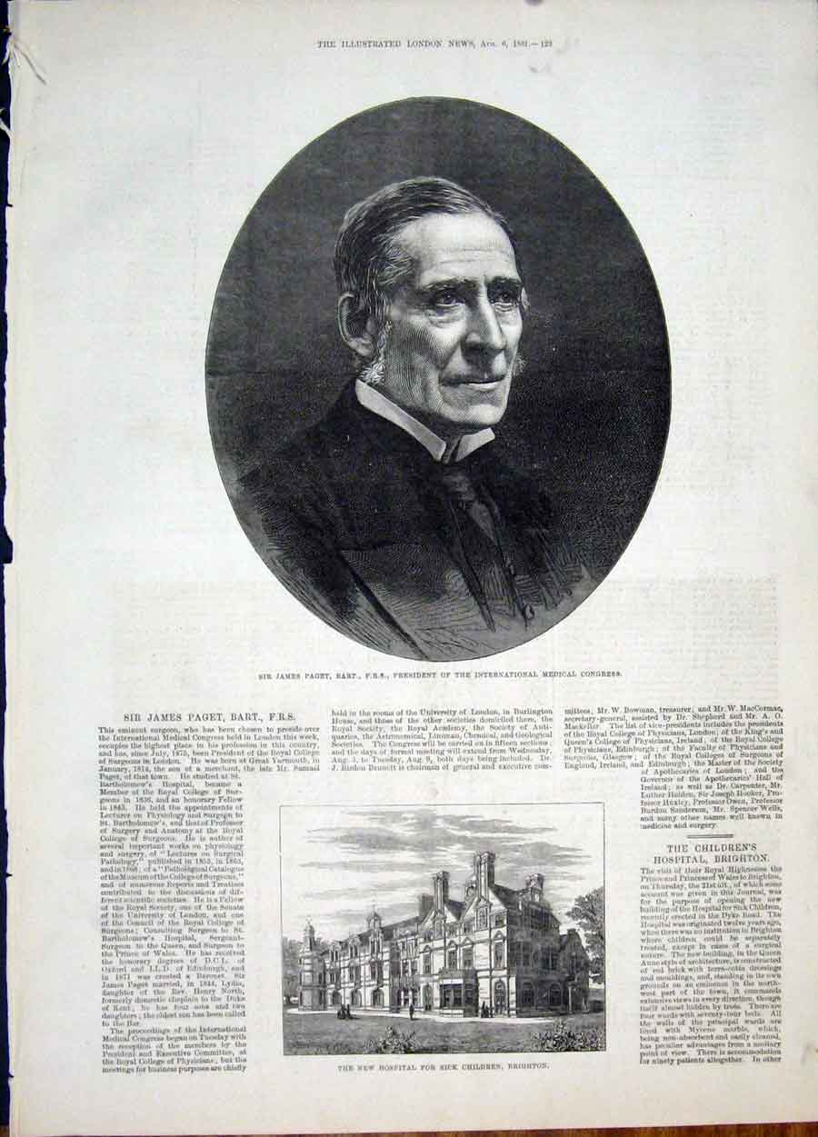 Print Portrait Paget Medical Congress Hospital Brighton 1881 29Maa1 Old Original