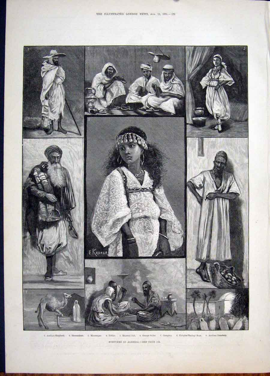 Print Sketch Algeria Arabian Shepherd Pedlar Orange Girl 1881 52Maa1 Old Original