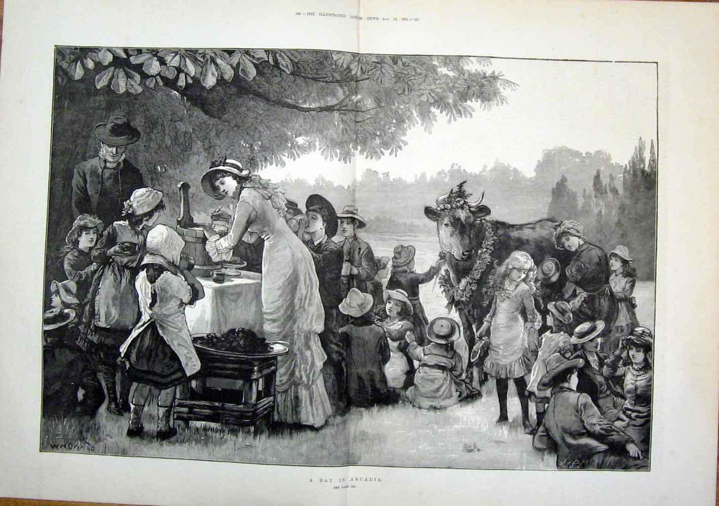Print Arcadia Cow Children Park Picnic Fine Art 1881 59Tmaa1 Old Original