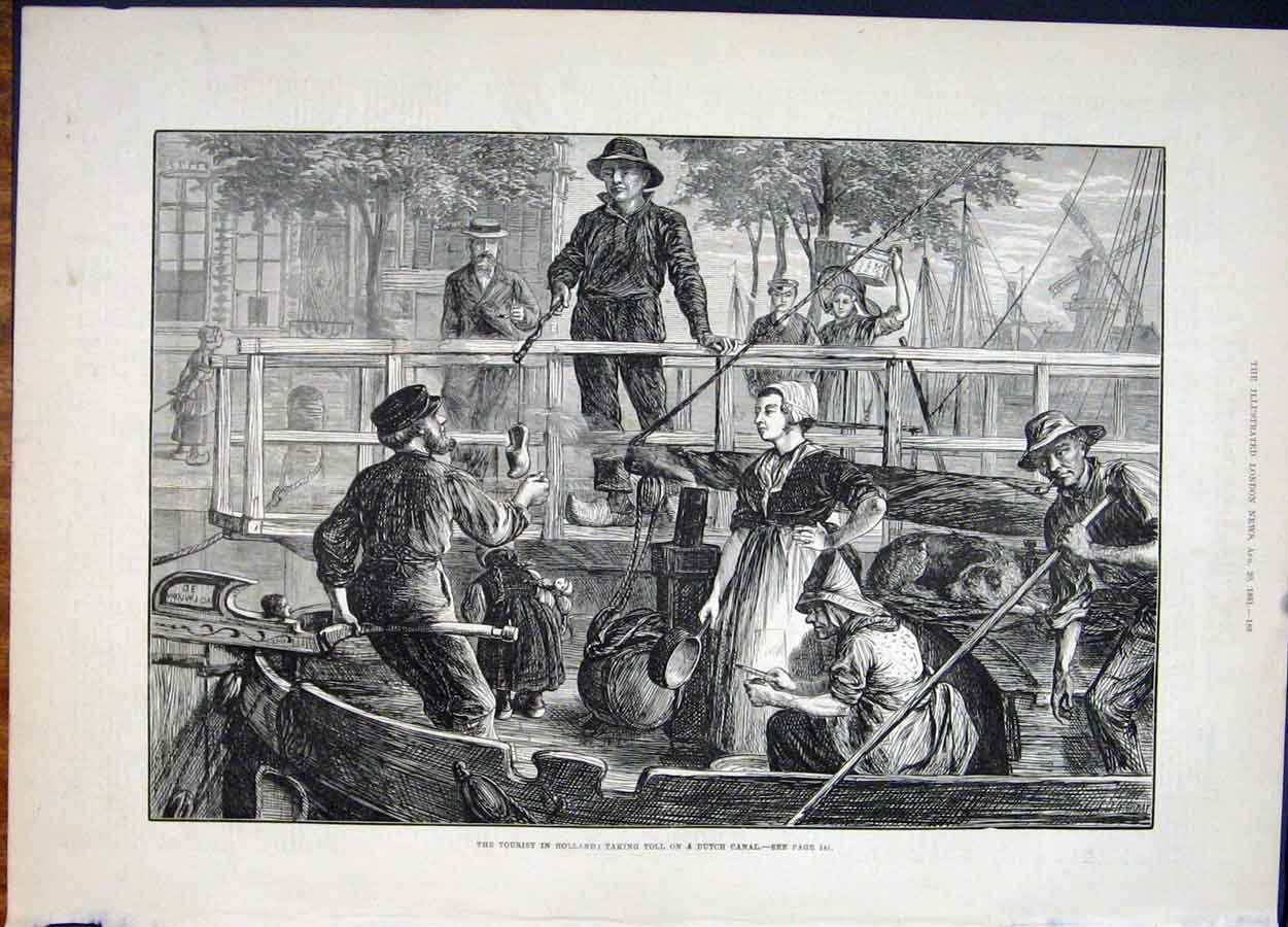 Print Holland Tourist Dutch Canal Toll 1881 88Maa1 Old Original