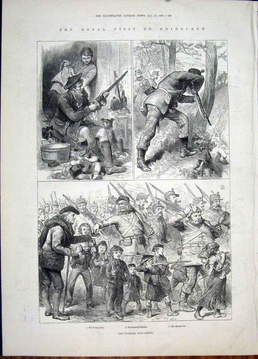 Print Royal Visit Edinburgh Scottish Volunteers Shoot Hunt 20Maa1 Old Original