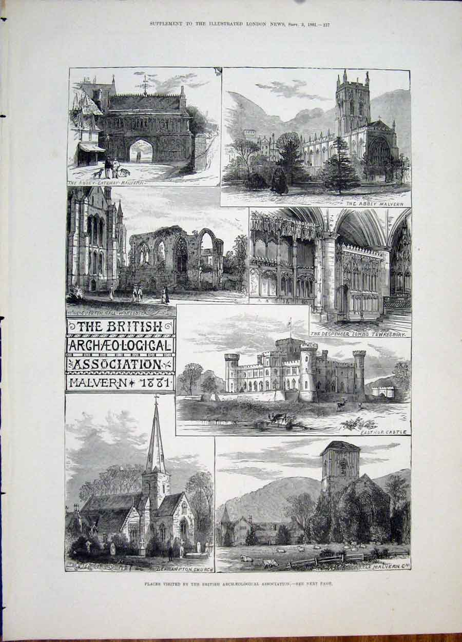 Print Archeological Association Malvern 1881 Leahampton Tomb 37Maa1 Old Original