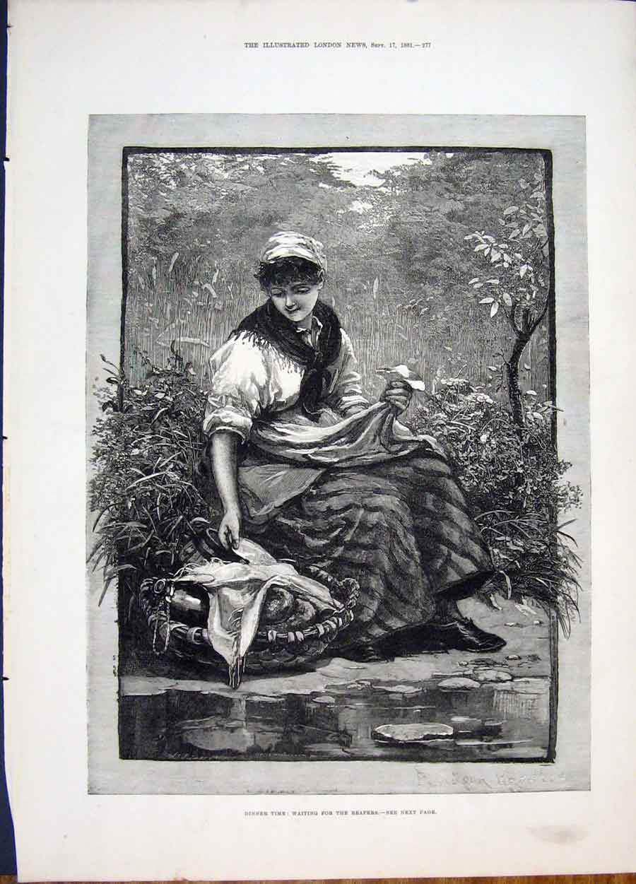 Print English Harvest Knowles Reapers Dinner Fine Art 1881 77Maa1 Old Original