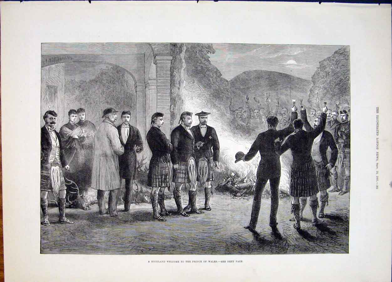 Print Highland Scotland Prince Wales 1881 01Maa1 Old Original