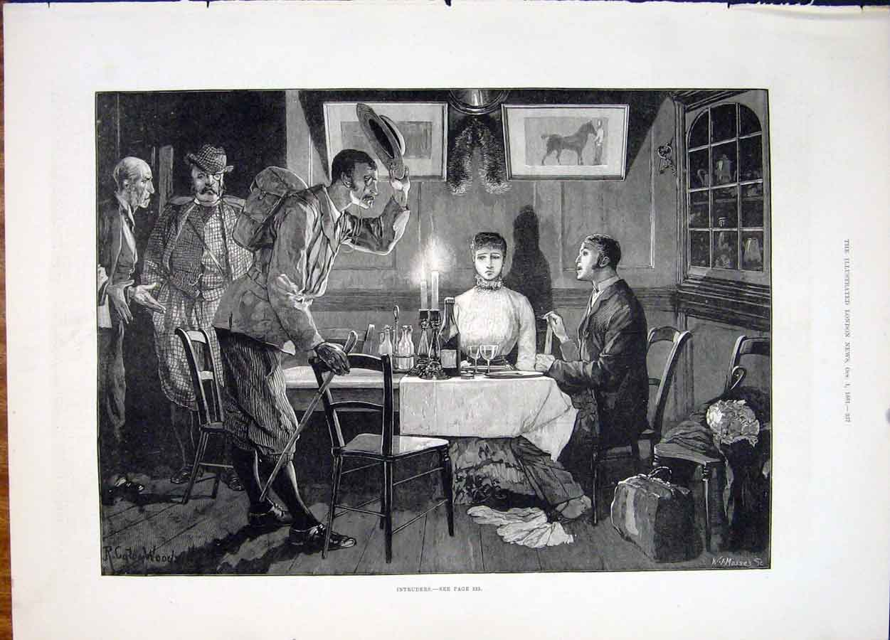 Print Intruders Dinner Mosses Fine Art 1881 37Maa1 Old Original