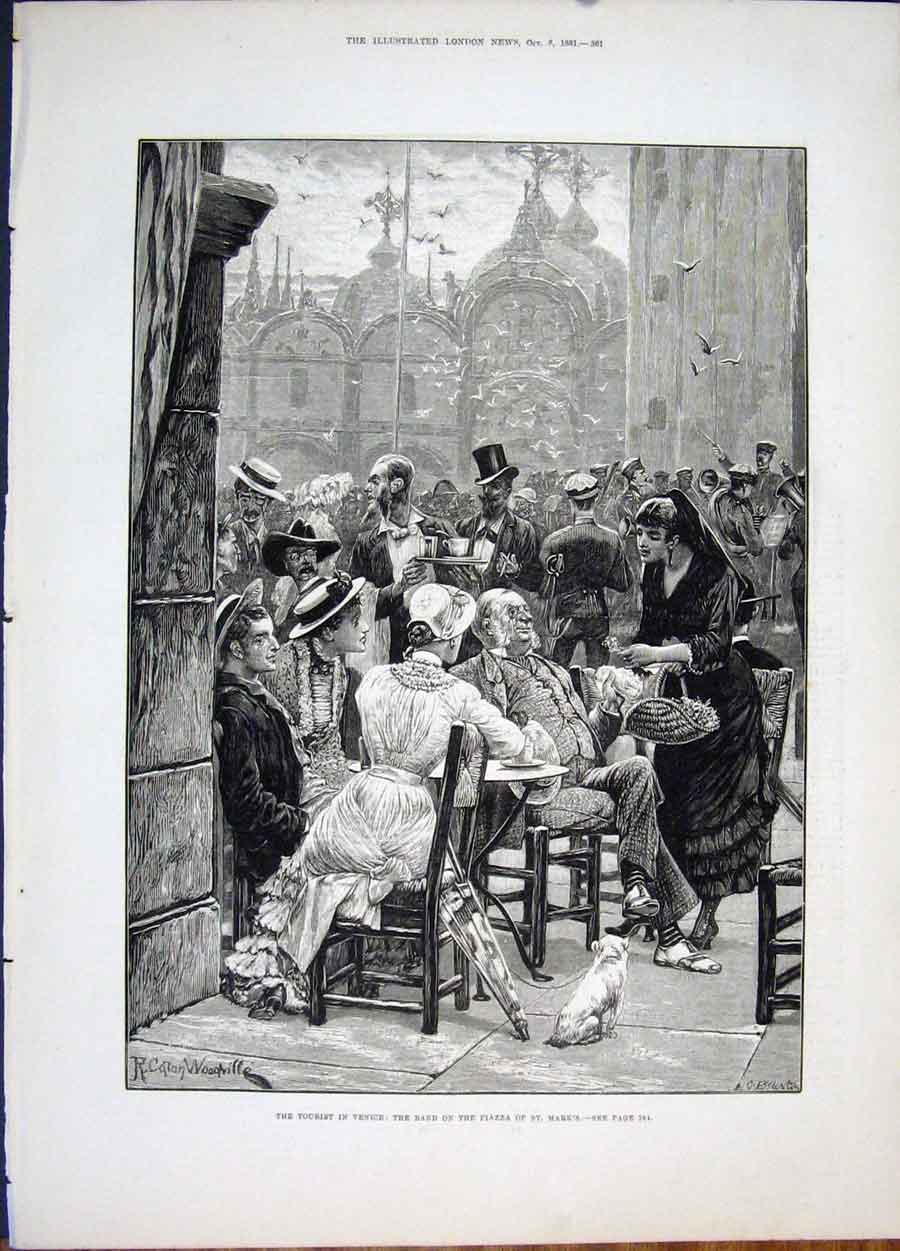 Print Venice Tourist Piazza St Mark'S Woodville Band 1881 61Maa1 Old Original