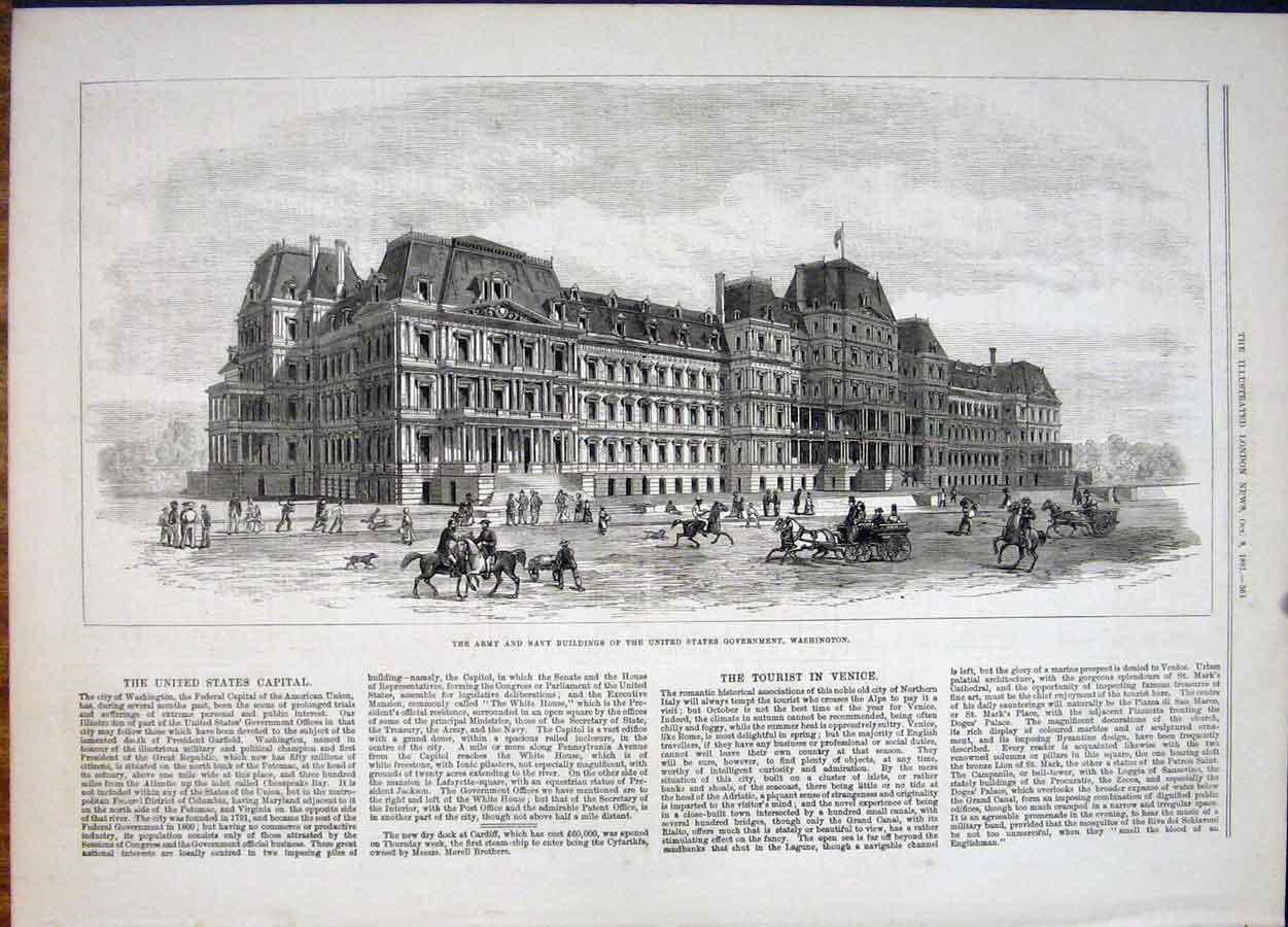 Print United States Government Army Navy Buildings Washington 64Maa1 Old Original
