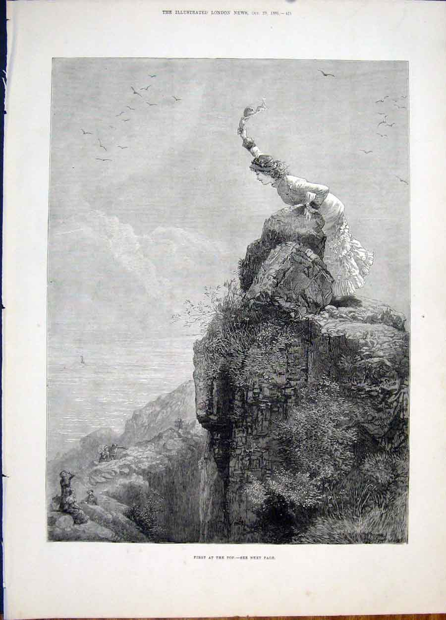 Print Cliff First At Top Rocks Young Lady Fine Art 1881 21Maa1 Old Original