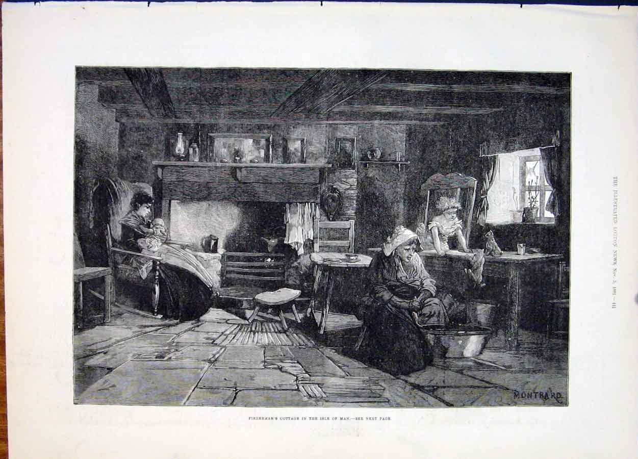 Print Fisherman'S Cottage Fisherman Isle Man Montbard 1881 41Maa1 Old Original