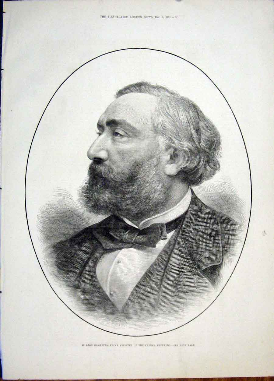 Print Portrait Gambetta French Republic Prime Minister 1881 41Maa1 Old Original