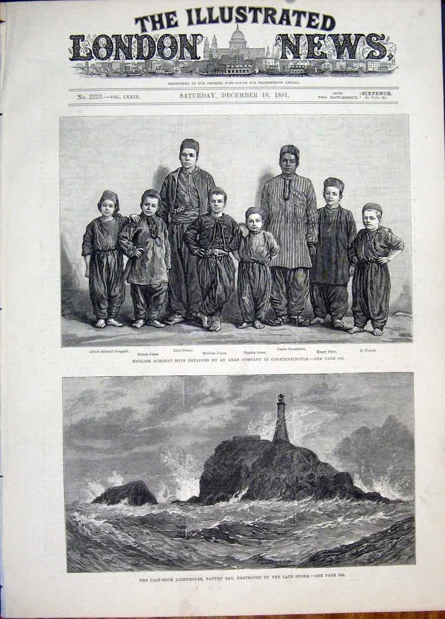 Print Acrobat Boys Arab Constaninople Bantry Bay Lighthouse 58Maa1 Old Original