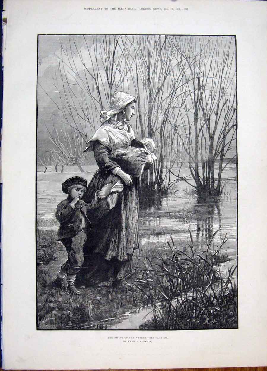 Print Rising Waters Emslie Baby Child Mother Fine Art 1881 97Maa1 Old Original