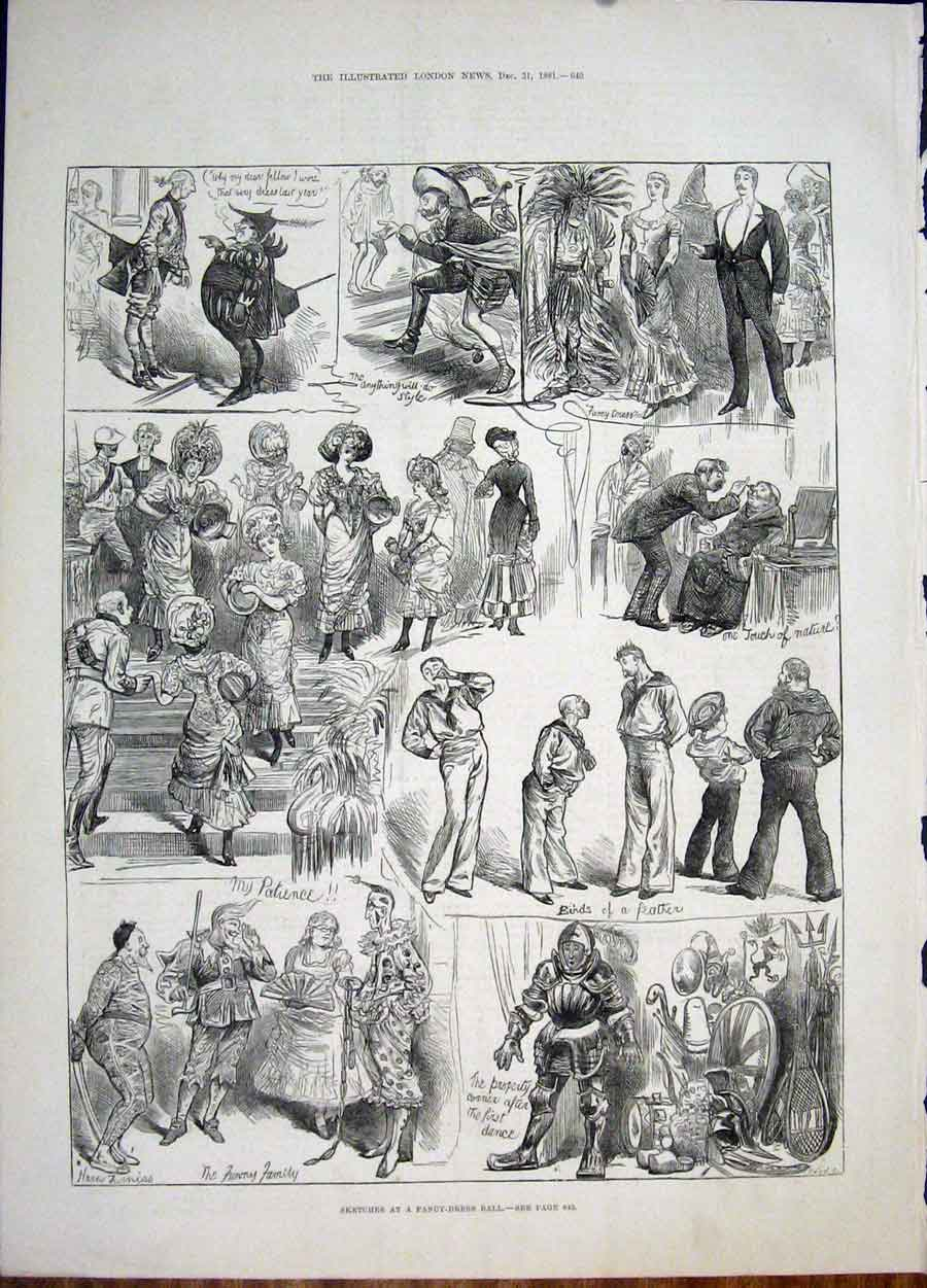 Print Sktech Fancy Dress Ball Furniss Dance 1881 40Maa1 Old Original