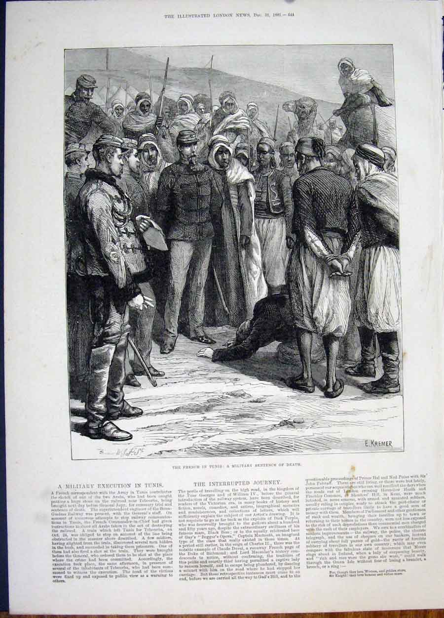 Print Tunis French Death Sentence 1881 44Maa1 Old Original