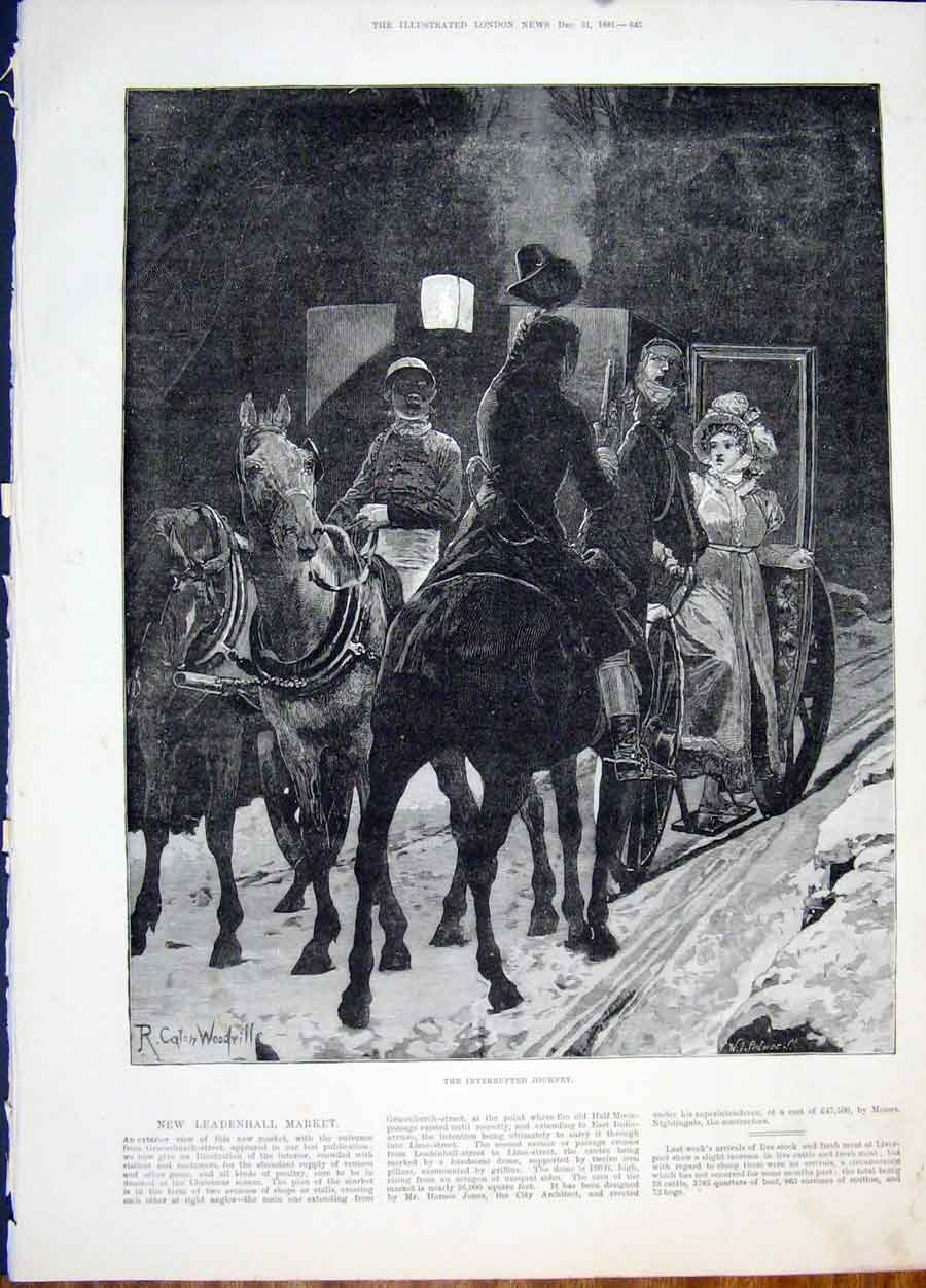 Print Journey Woodville Carriage Horse Fine Art 1881 45Maa1 Old Original