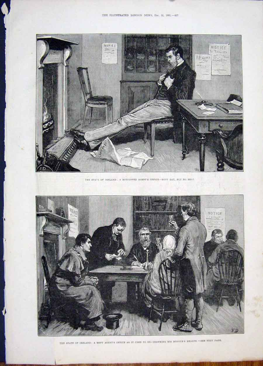 Print Ireland Boycott Rent Drink Agent 1881 57Maa1 Old Original