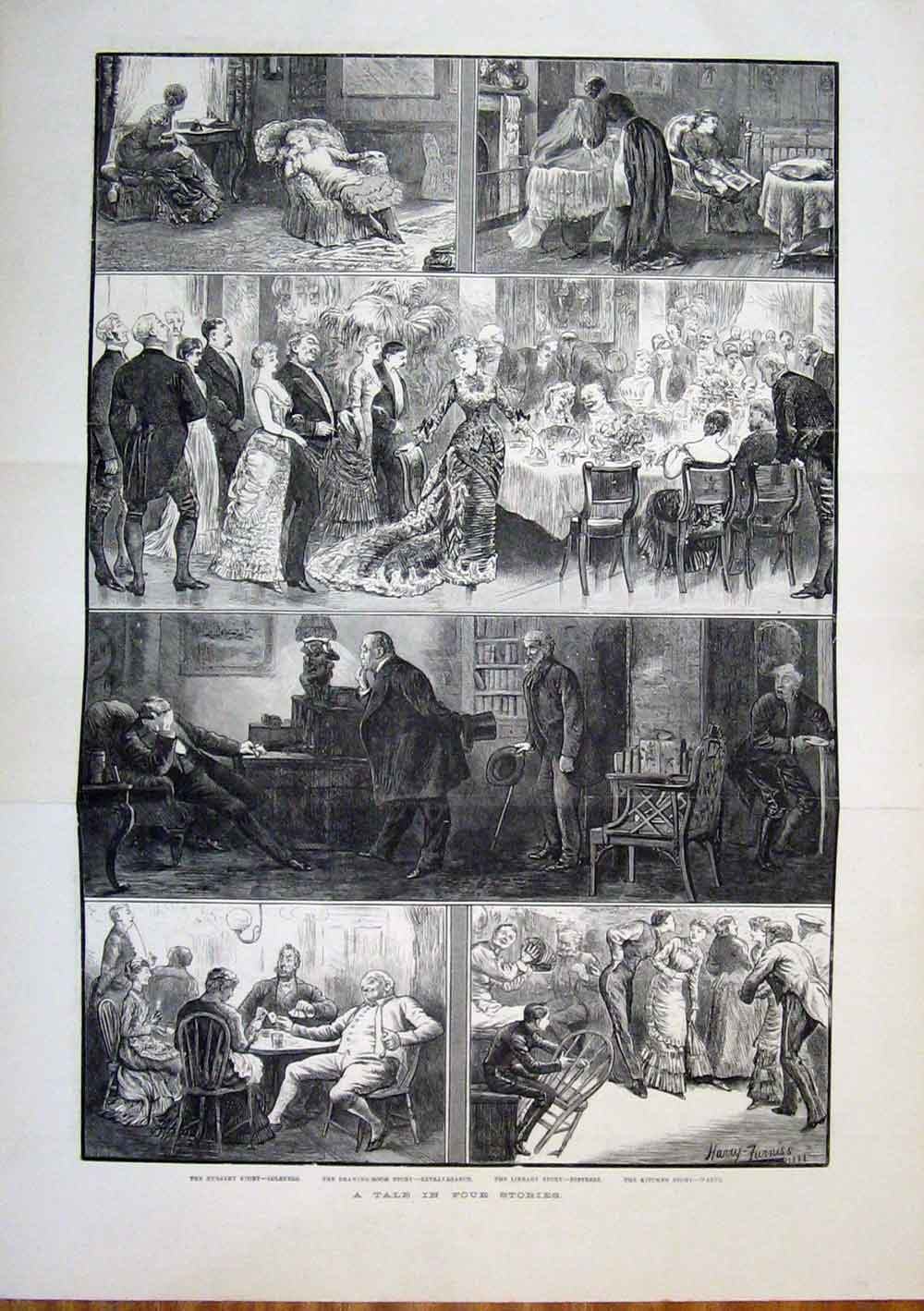 Print Stories Furniss Nursery Drawing Room Library Kitchen 01Tmaa1 Old Original