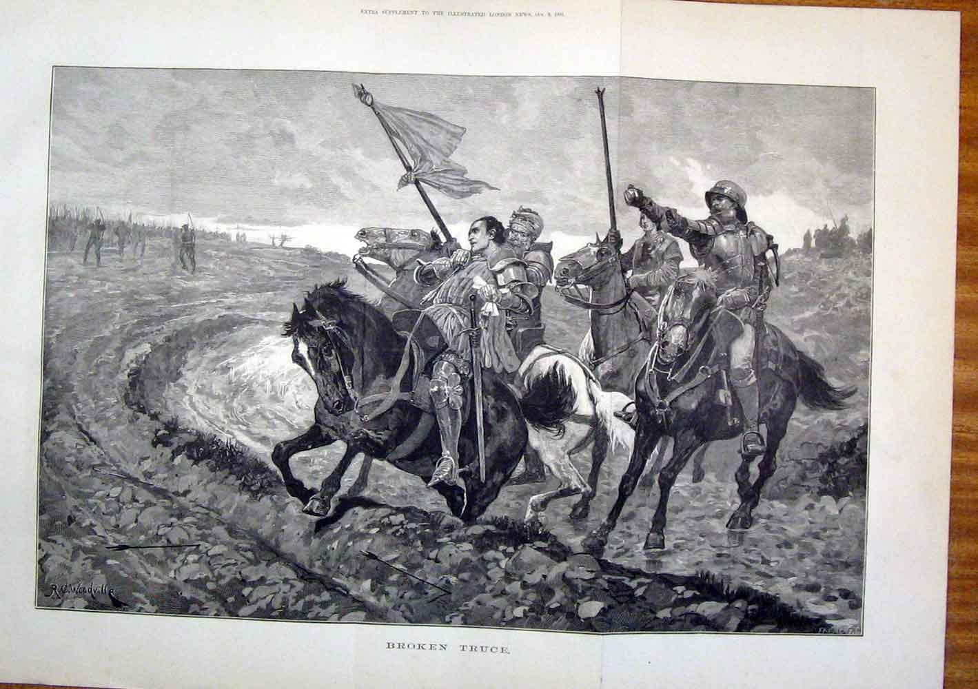 Print Broken Truce War Horses Fine Art 1881 06Tmaa1 Old Original