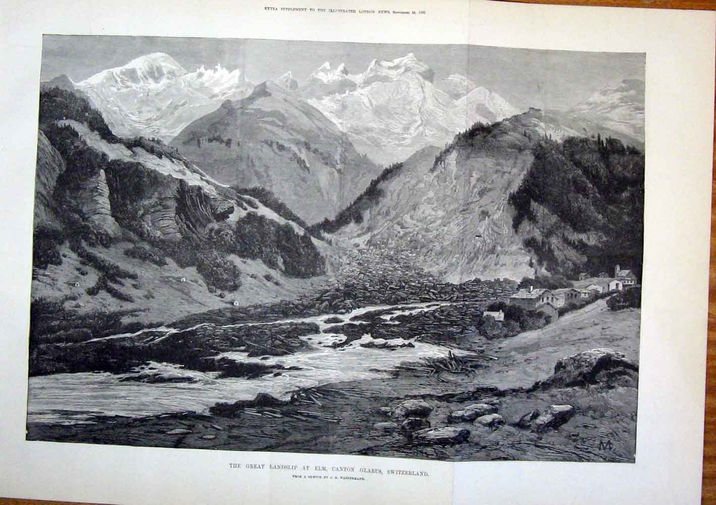 Print Elm Canton Switzerland Wassermann Fine Art 1881 08Tmaa1 Old Original