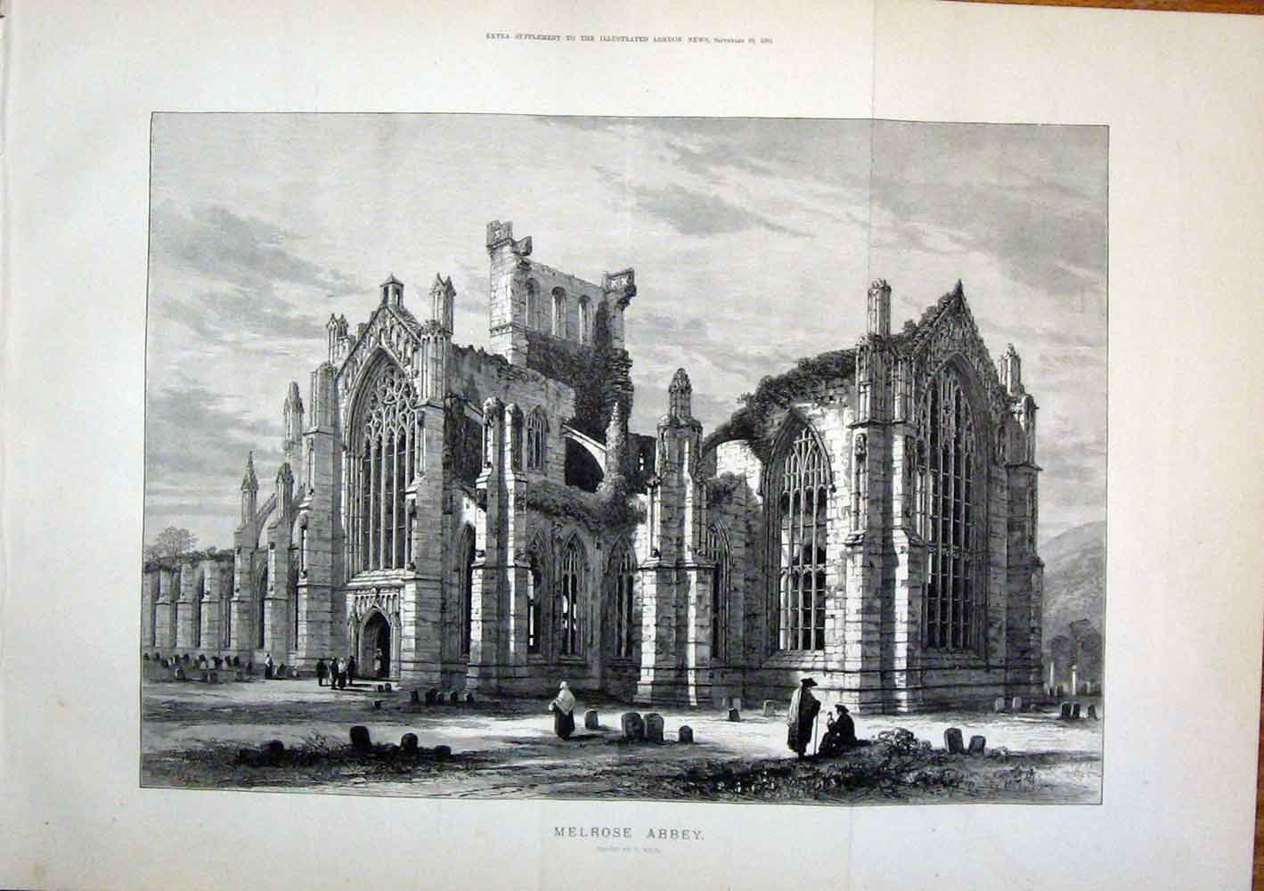 Print Melrose Abbey Read England Fine Art 1881 09Tmaa1 Old Original