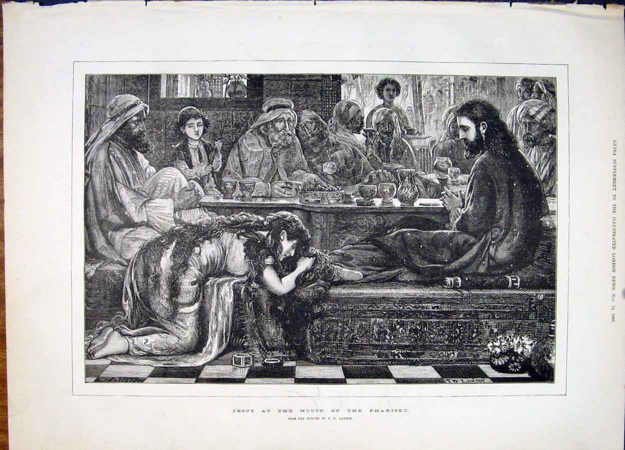 Print Jesus Pharasee Lawson Religion Religious 1881 53Maa1 Old Original