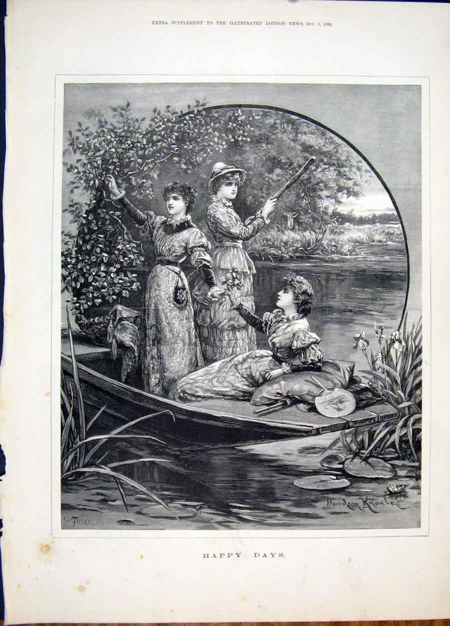 Print Happy Days Knowles Girls River Boat Fine Art 1881 58Maa1 Old Original
