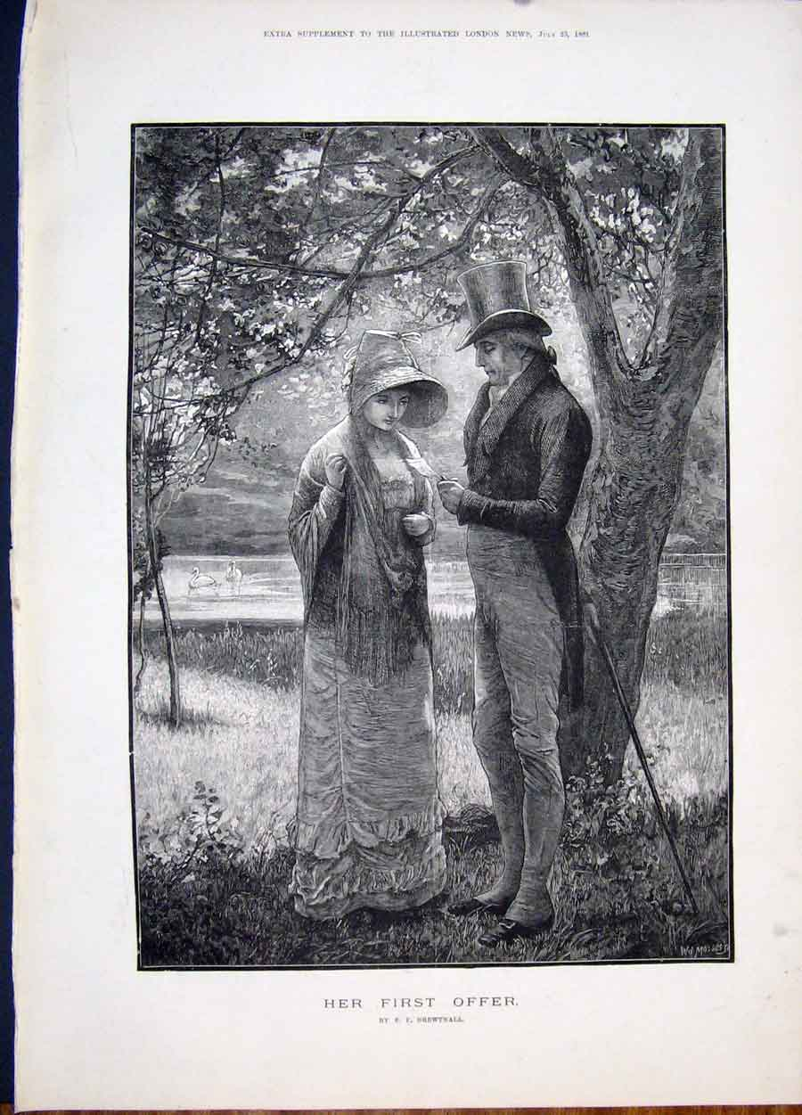 Print Brewtnall First Offer Proposal Fine Art 1881 59Maa1 Old Original