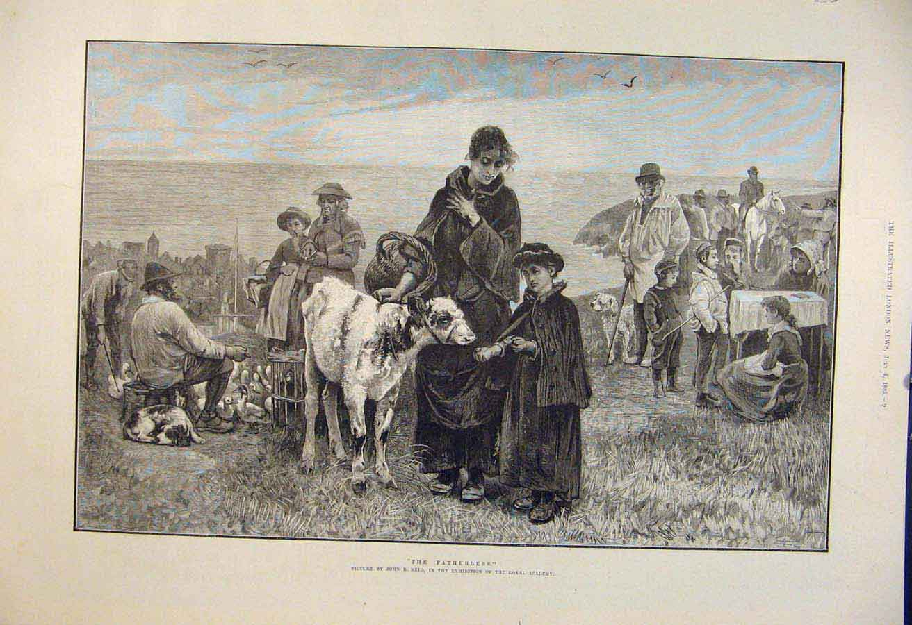 Print Fatherless Reid Royal Academy Fine Art 1885 09Maa1 Old Original