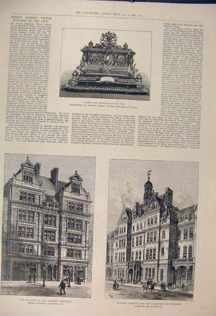 Print Birkbeck Building Chancery Hospital Bloomsbury Casket 13Maa1 Old Original