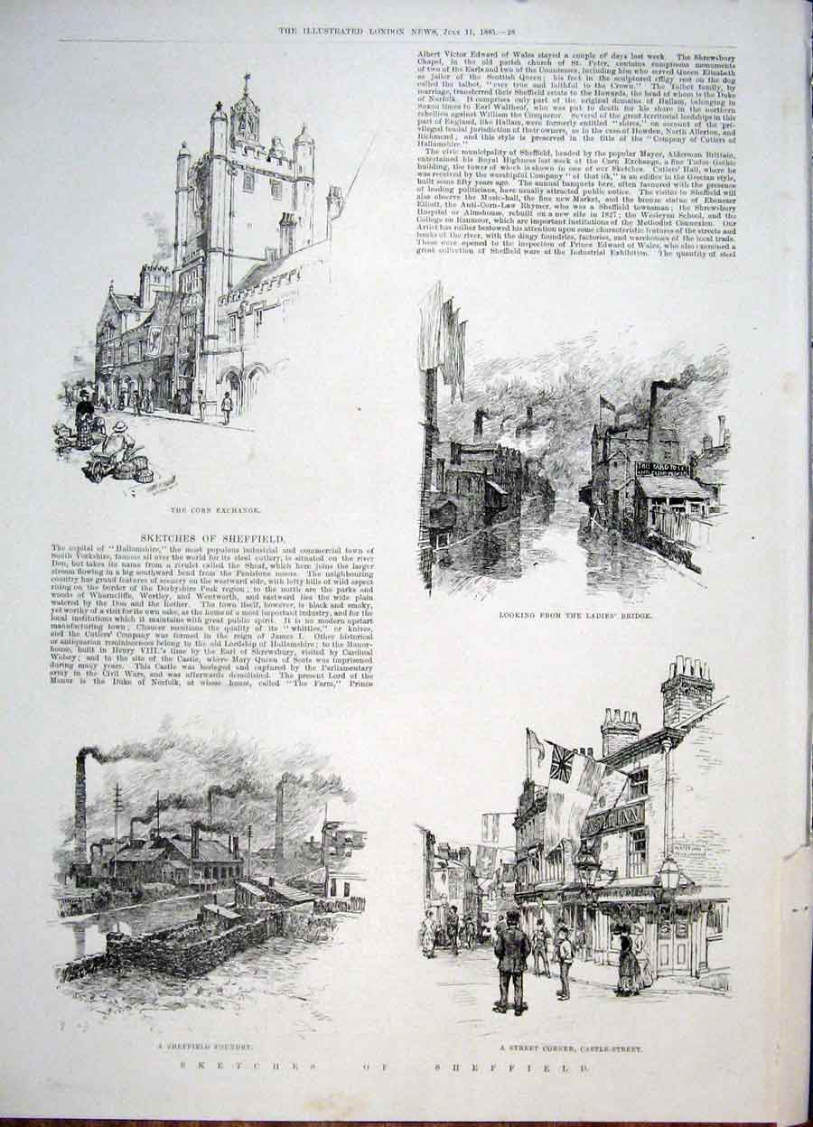 Print Sketches Sheffield Corn Exchange Bridge Foundry Castle 28Maa1 Old Original