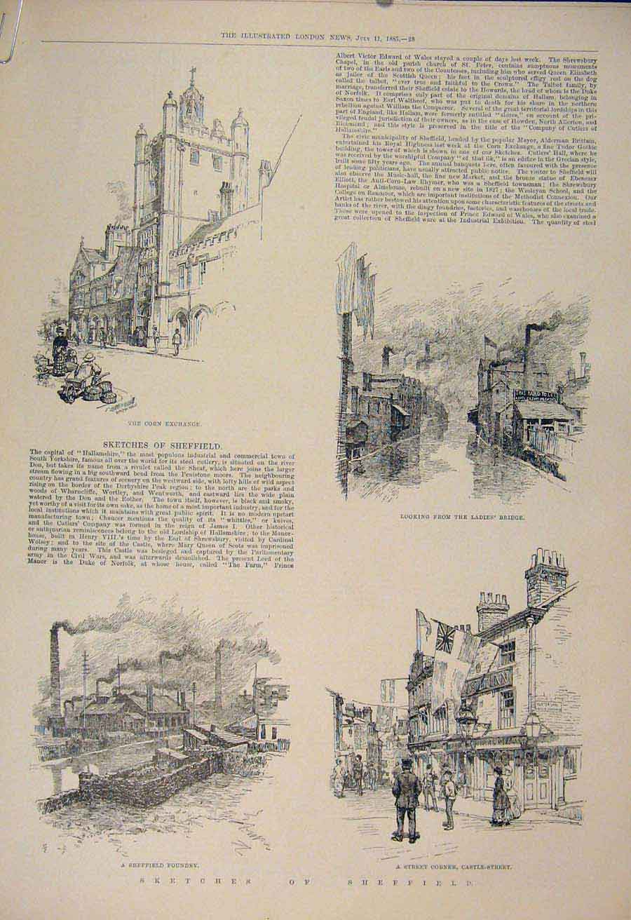 Print Sketches Sheffield Foundry Ladies Bridge Corn Exchange 28Amaa1 Old Original
