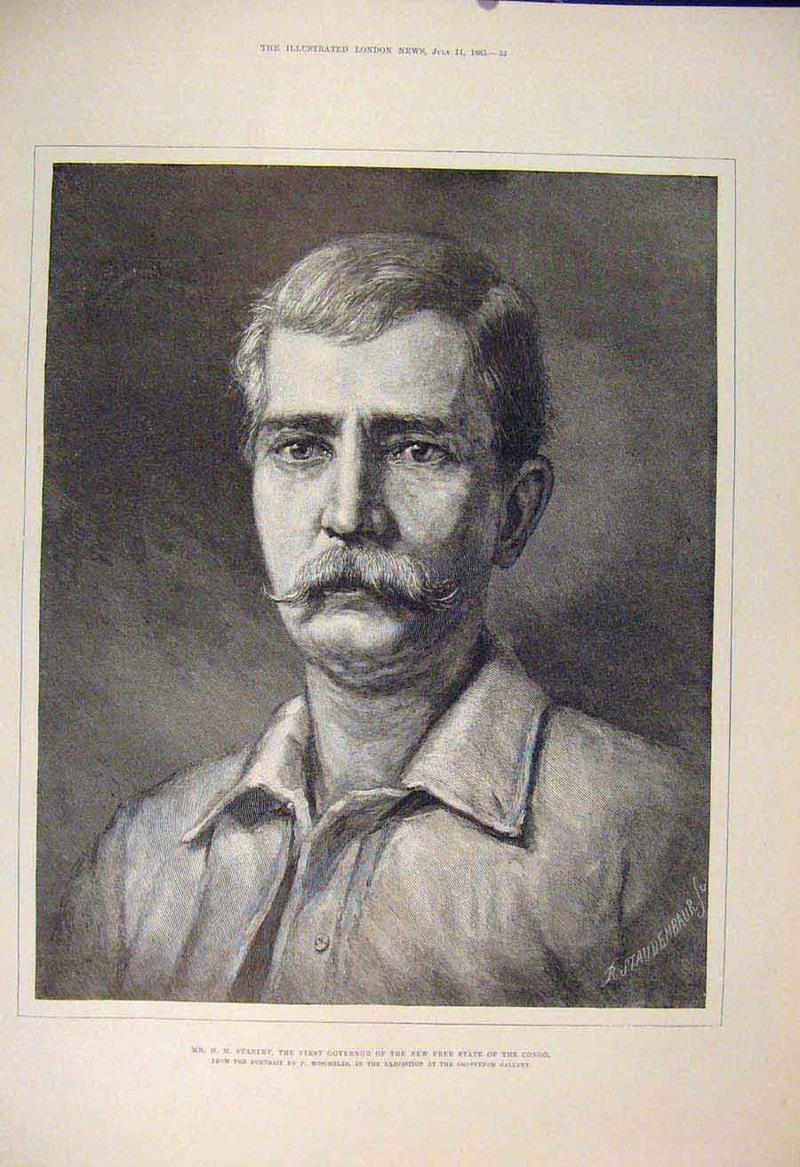 Print Stanley Congo Africa Moscheles Governor 1885 33Maa1 Old Original