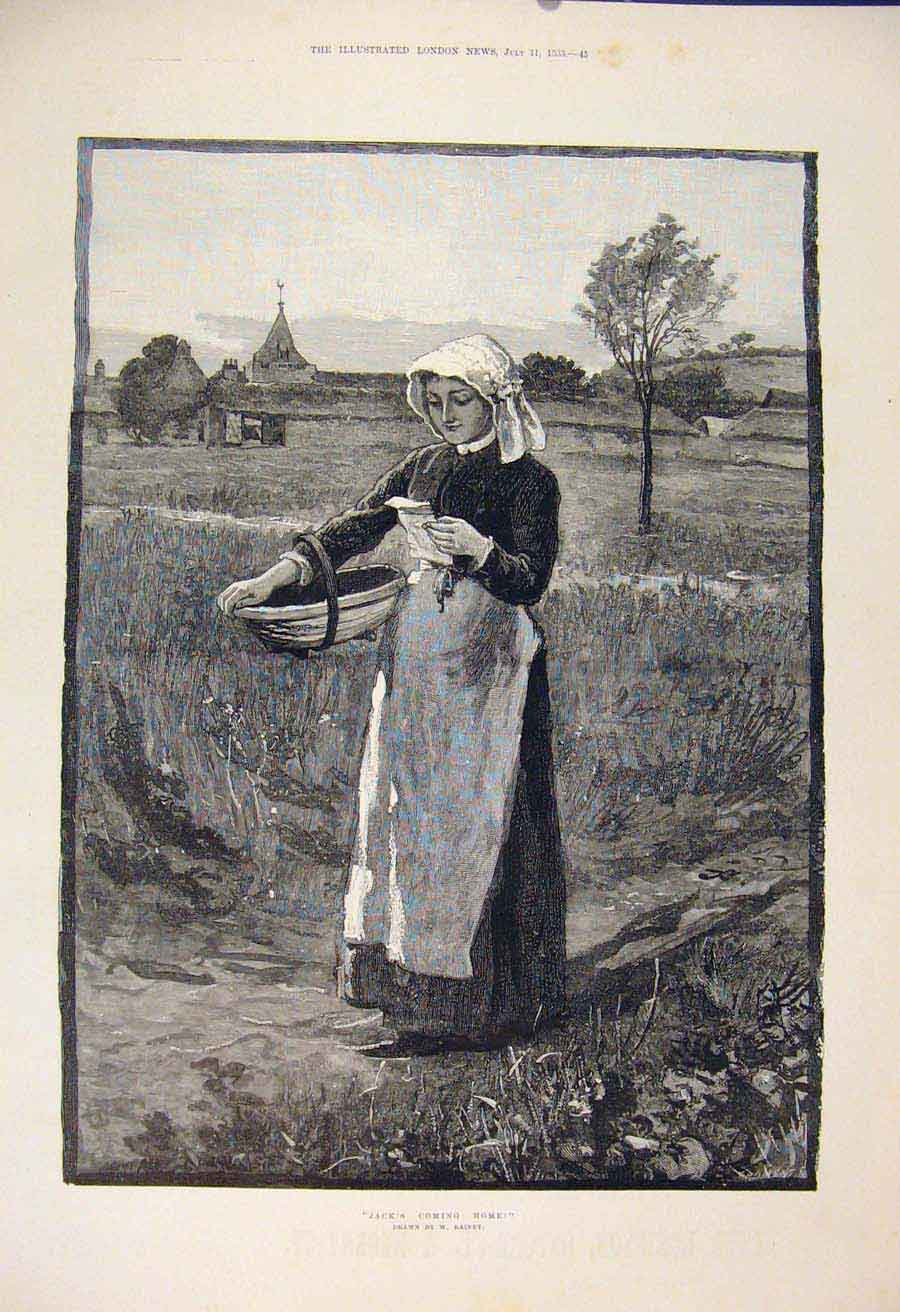 Print Jack Home Rainey Lady Farm Field Fine Art 1885 45Maa1 Old Original