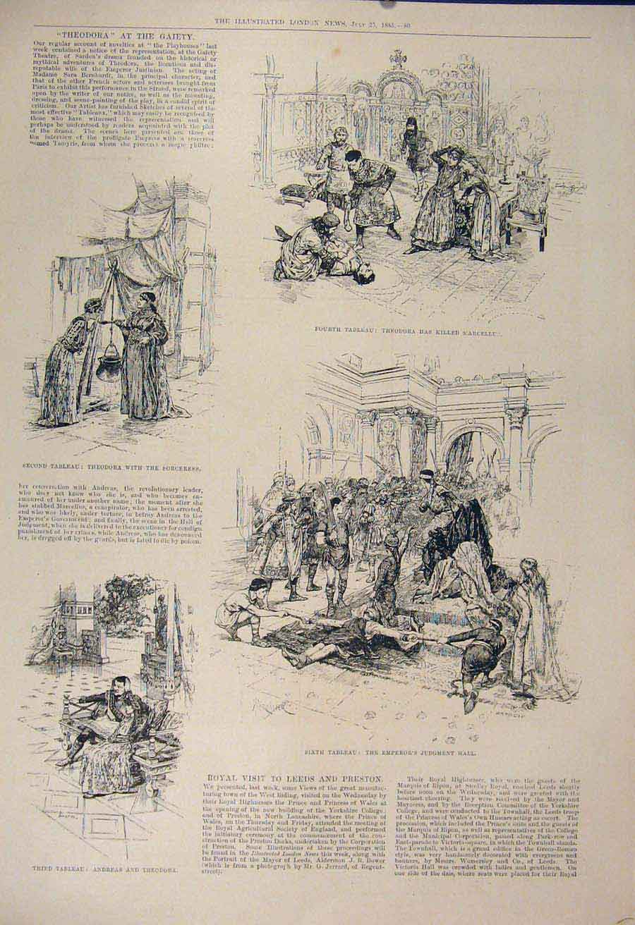 Print Theodora Marcellus Gaiety Theatre London 1885 80Maa1 Old Original