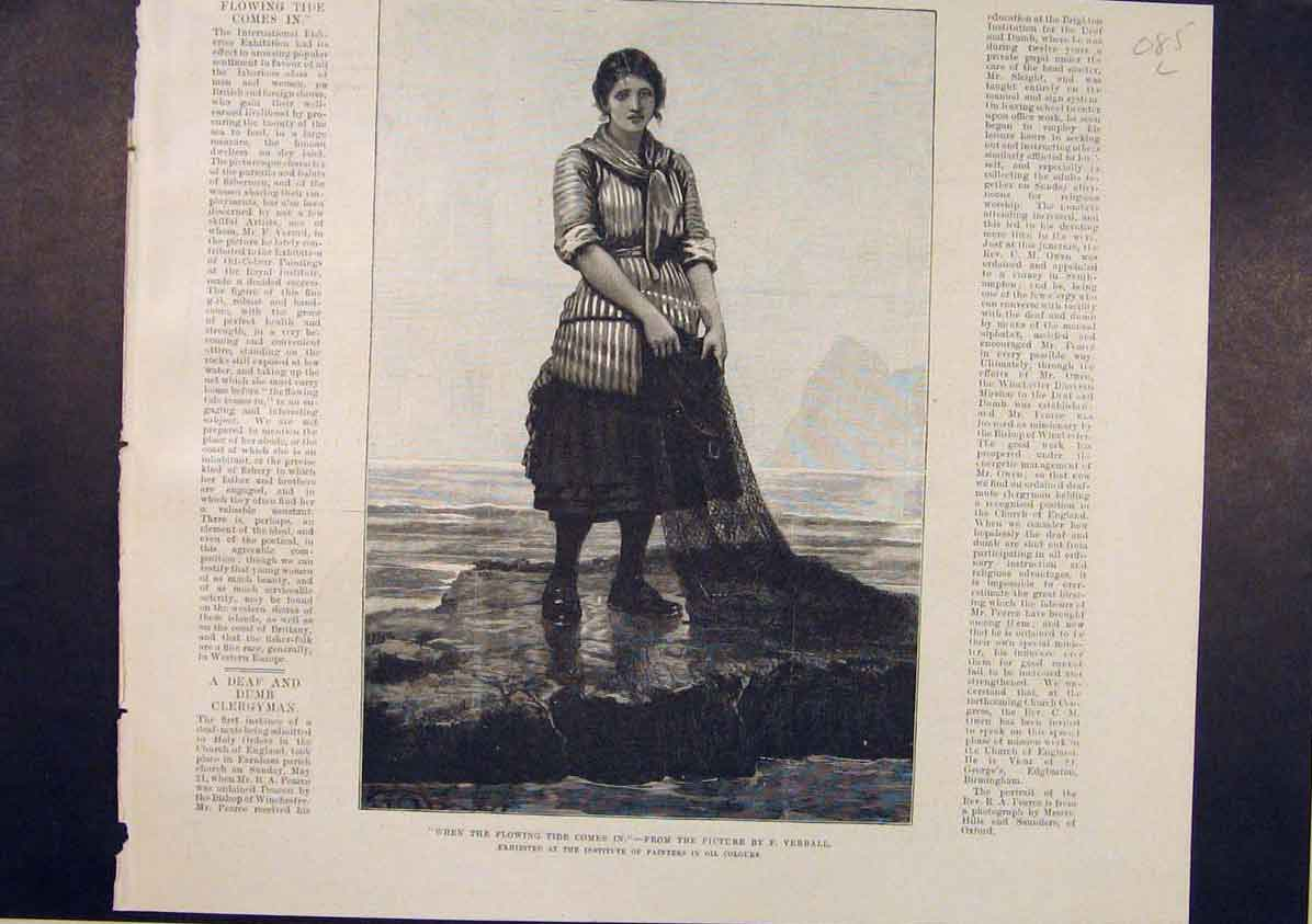 Print Tide Lady Fishwoman Fishing Verrall Fine Art 1885 85Lmaa1 Old Original